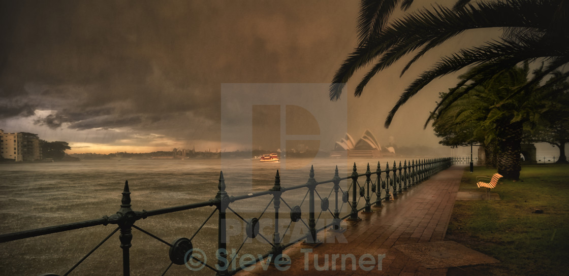 """Hail Storm Sydney Harbour."" stock image"