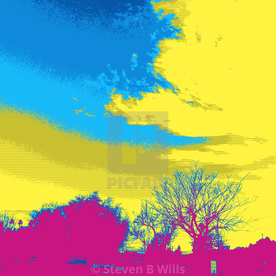 """""""Blue and yellow sky popart"""" stock image"""