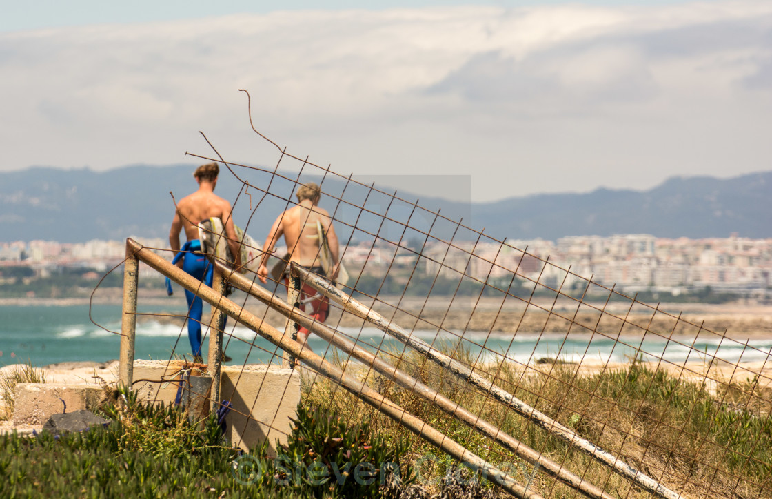 """Surfers Walk"" stock image"