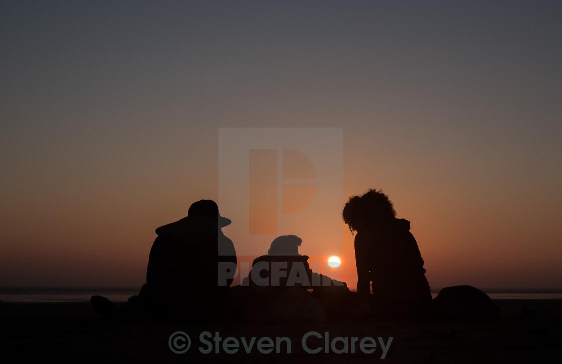 """Sunset Family"" stock image"