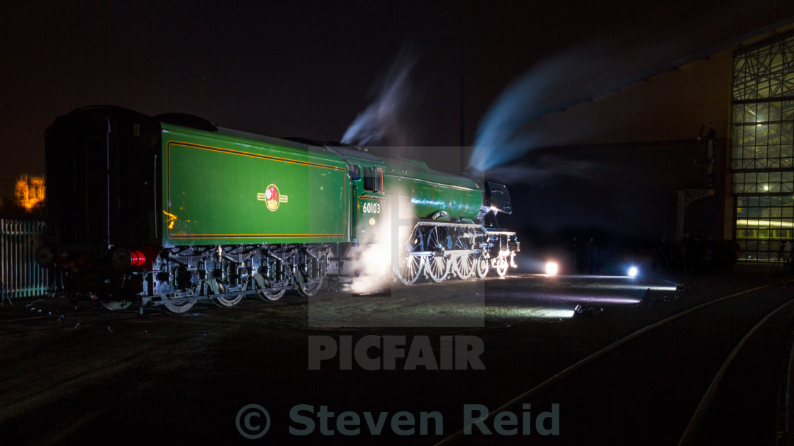 """No. 60103 The Flying Scotsman at night"" stock image"