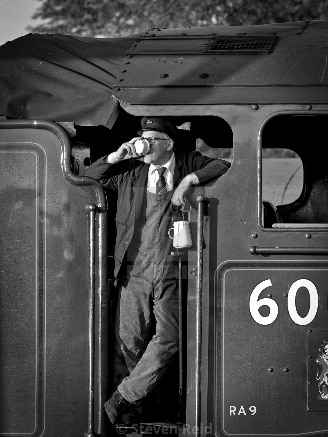 """Fireman on the footplate"" stock image"