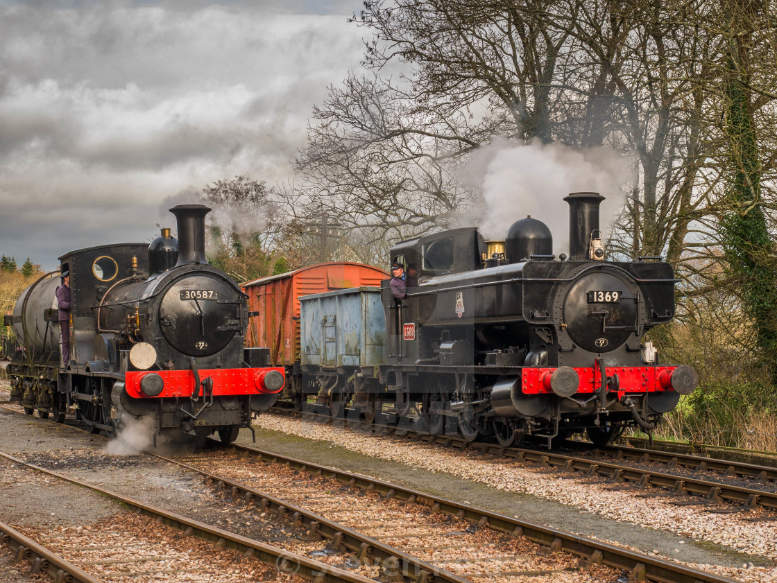 """""""GWR Pannier Tank No.1369 and Beattie Well Tank 30587"""" stock image"""