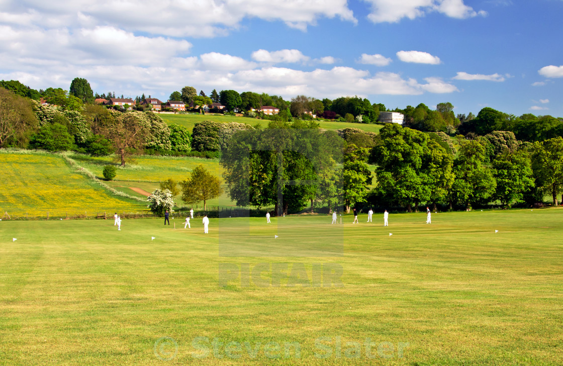 """UK Cricket Field in Summer"" stock image"