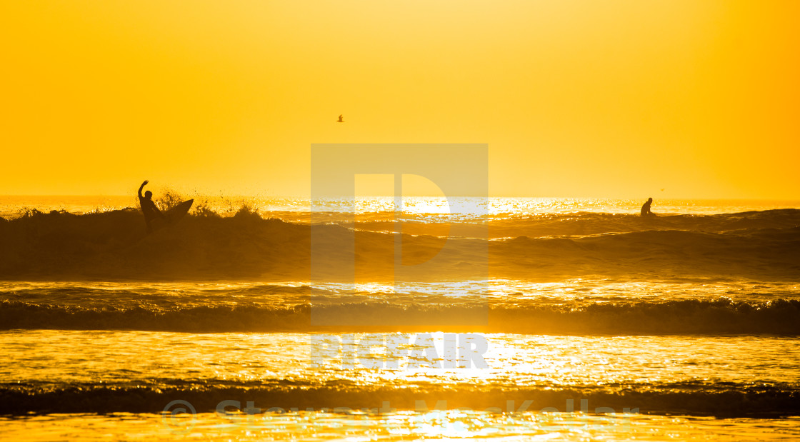 """Sunset at Croyde"" stock image"