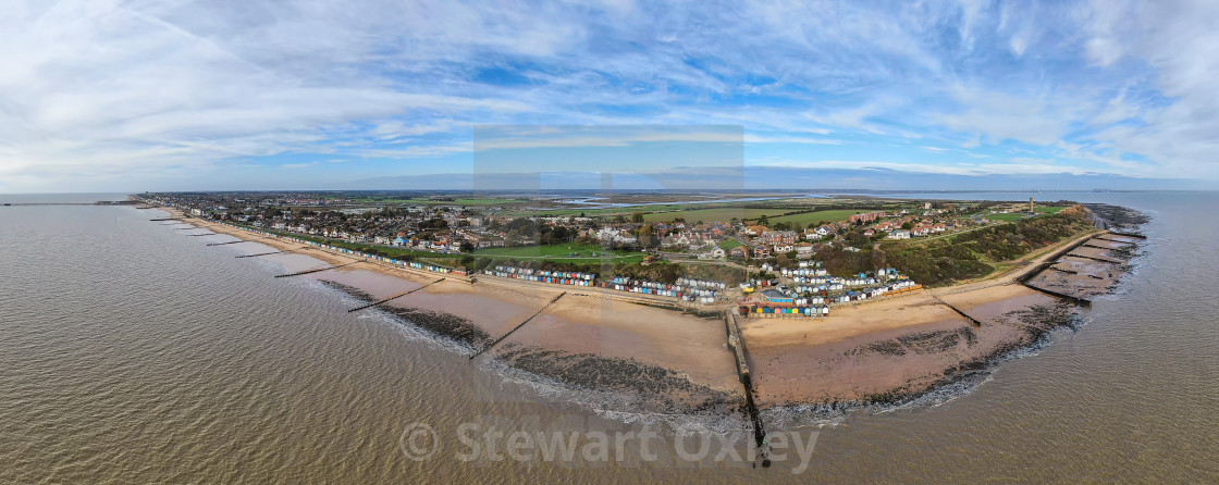 """Walton - Panorama from the Pier to the Naze"" stock image"