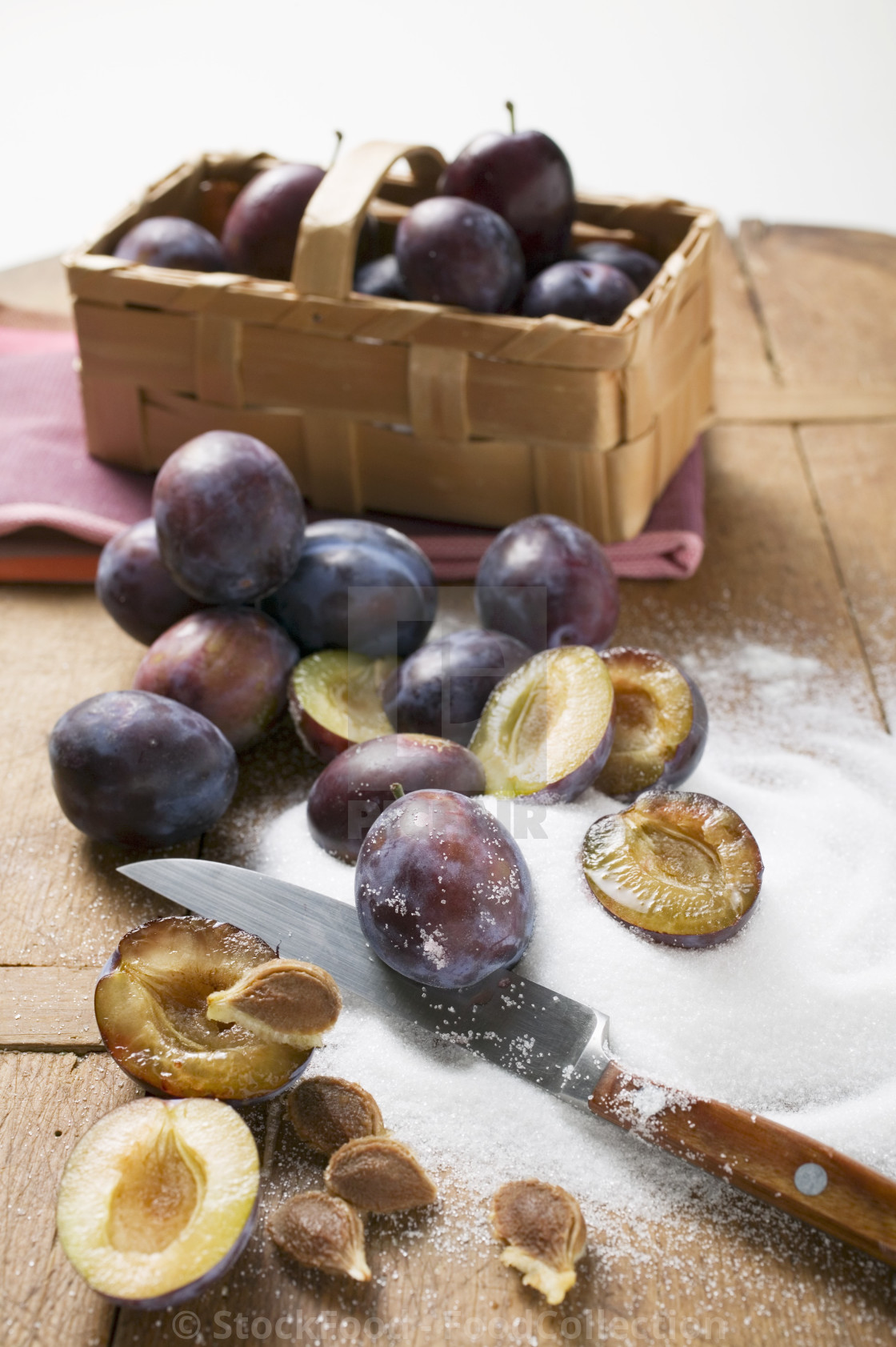 """Damsons and sugar"" stock image"