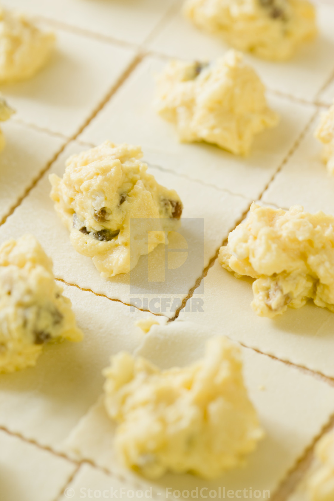 """Making ricotta parcels"" stock image"