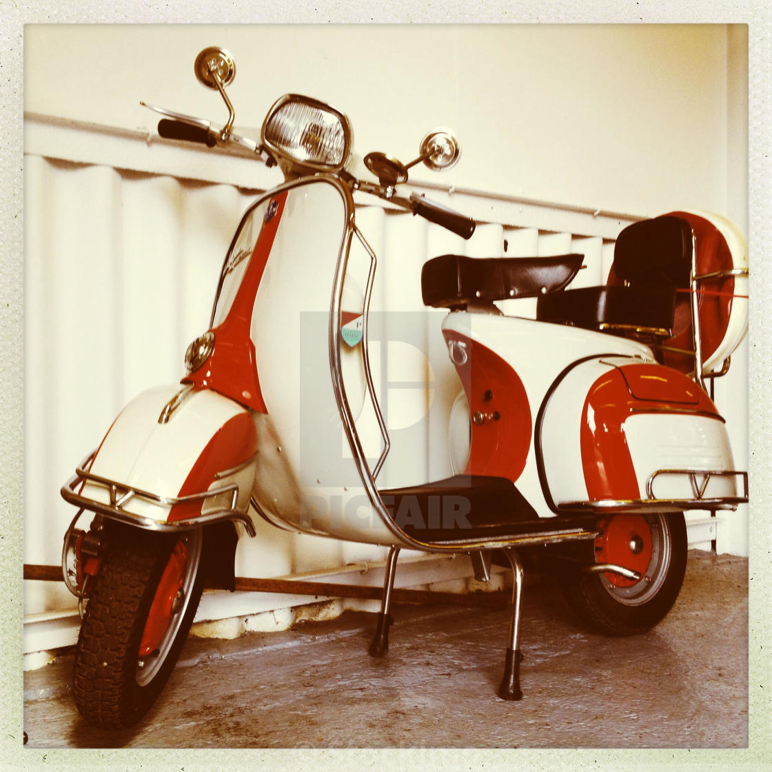 Red And White Vespa Sprint Classic 1960s Moped License