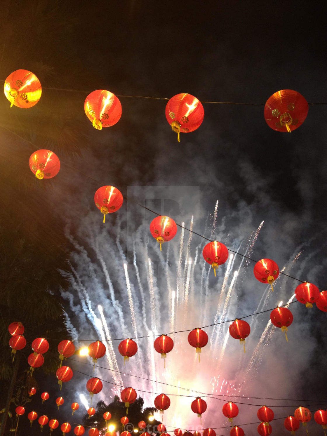 """Chinese New Year lanterns fireworks"" stock image"