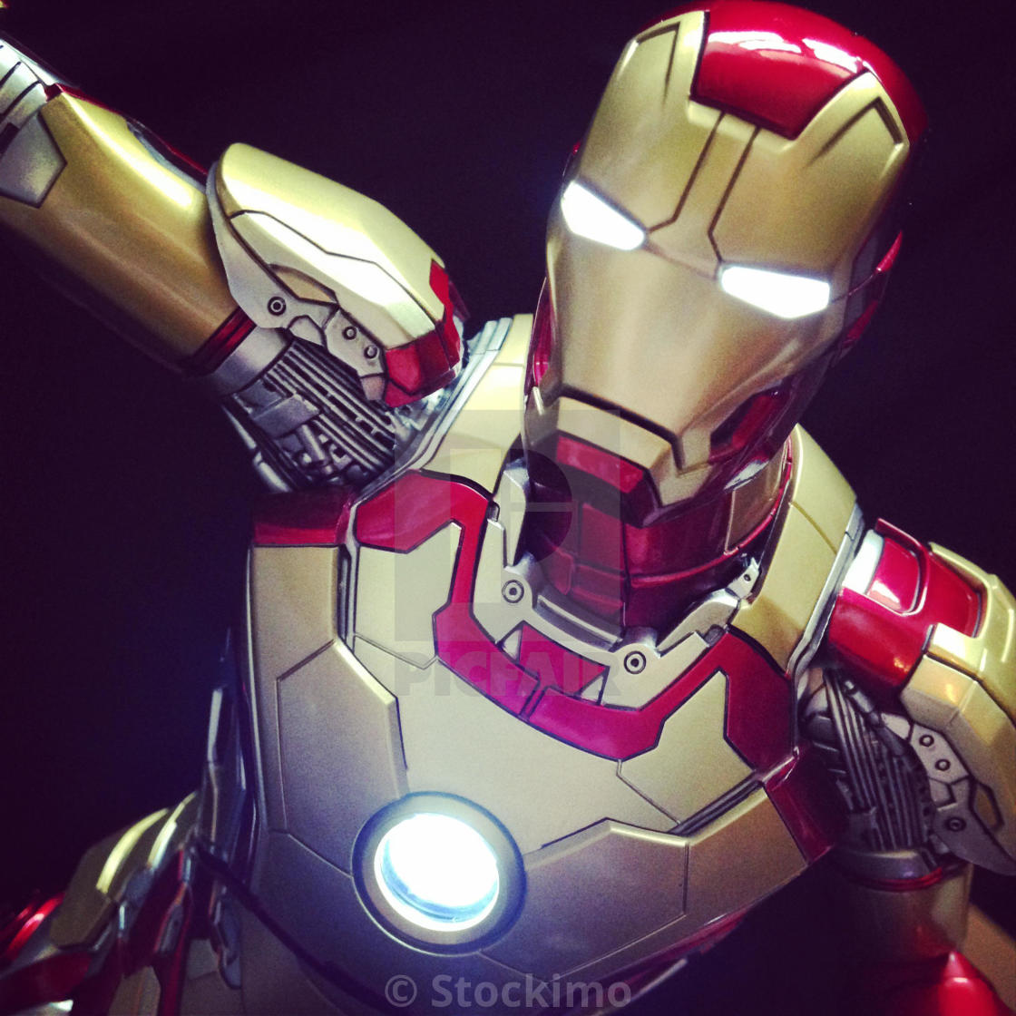 """Here is a close up of the marvel Ironman suit."" stock image"