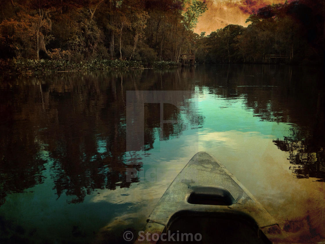 """""""Canoeing down river."""" stock image"""