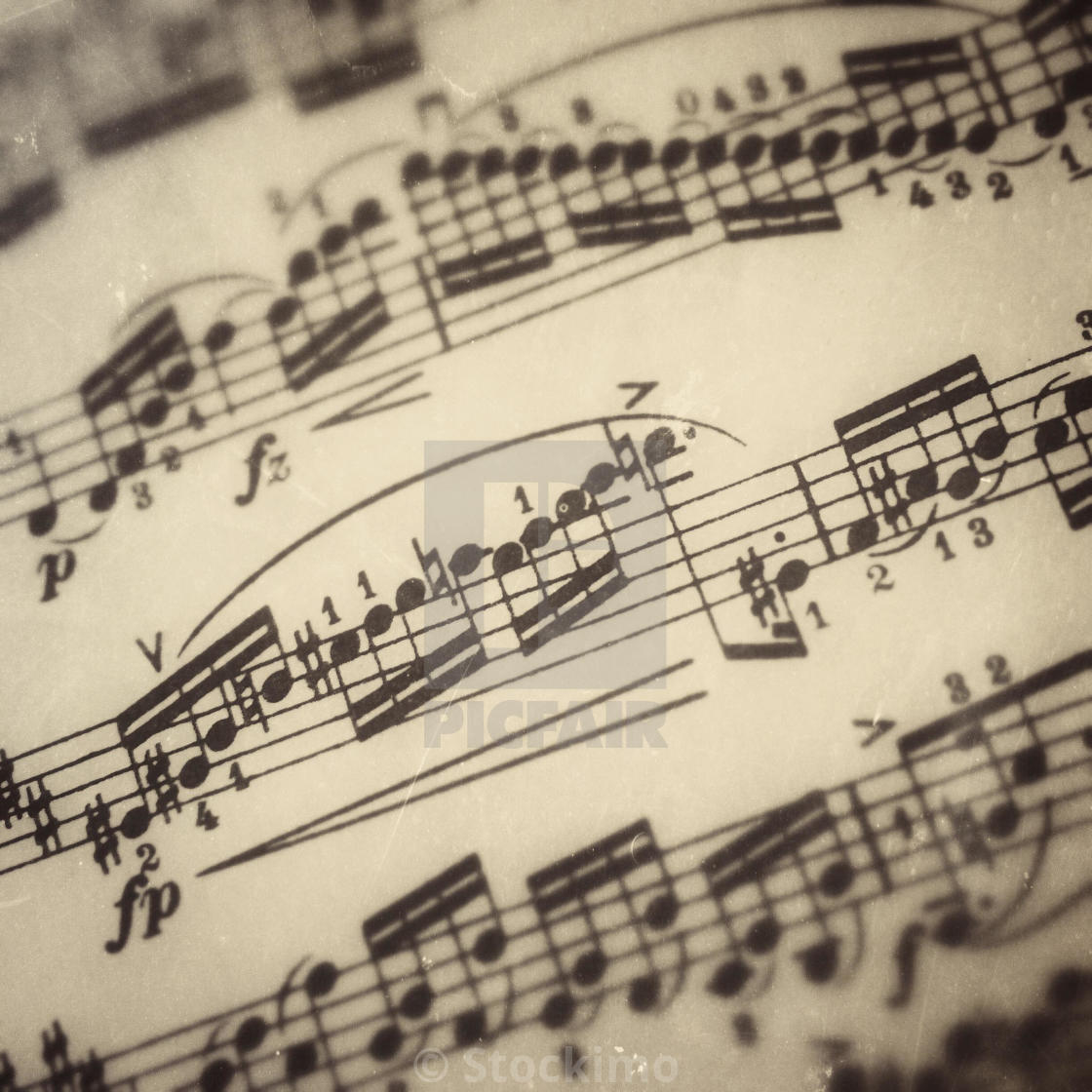 Close-up of a page of violin music  - License, download or print for