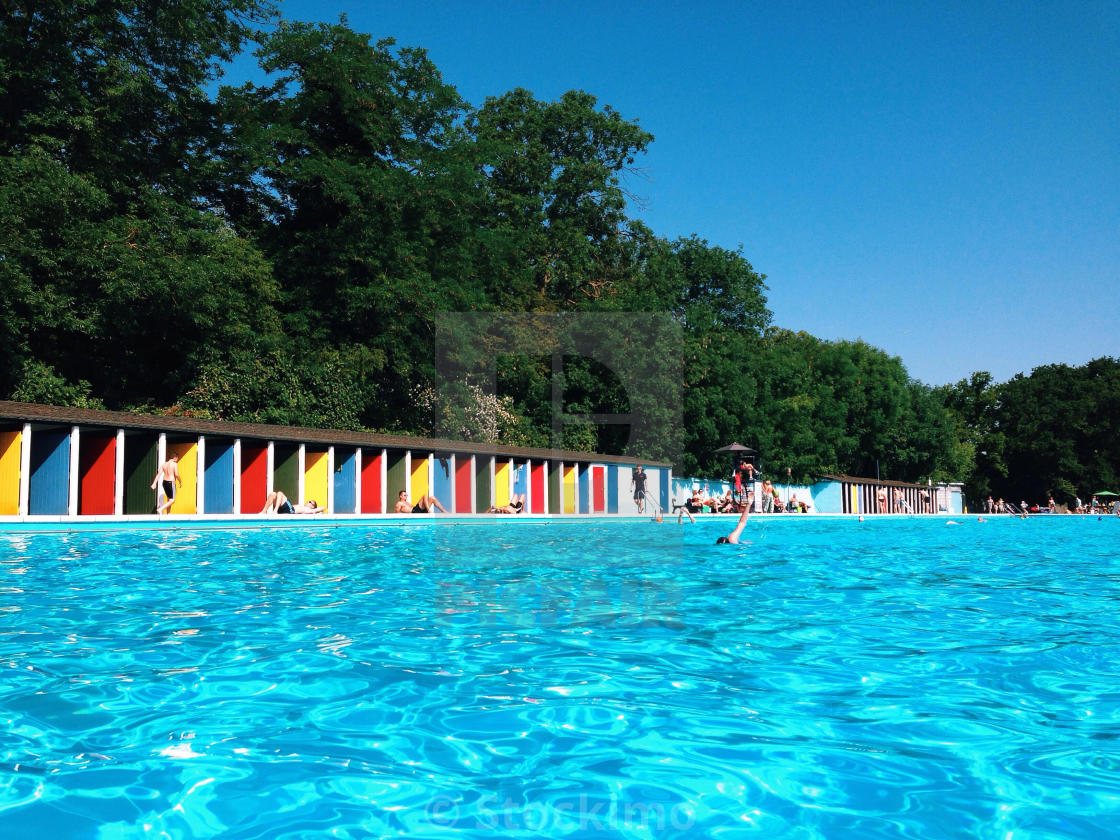 """Tooting Lido. Outdoor pool."" stock image"