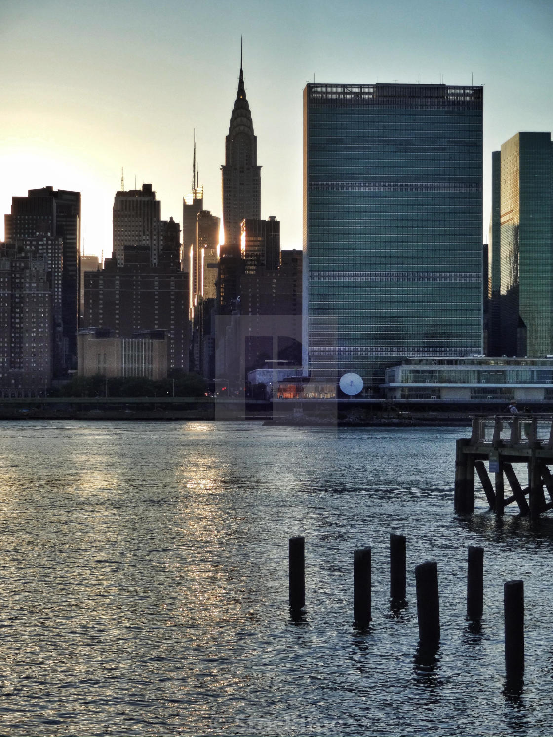 """""""UN headquarters in NYC view from Long Island City. East River"""" stock image"""