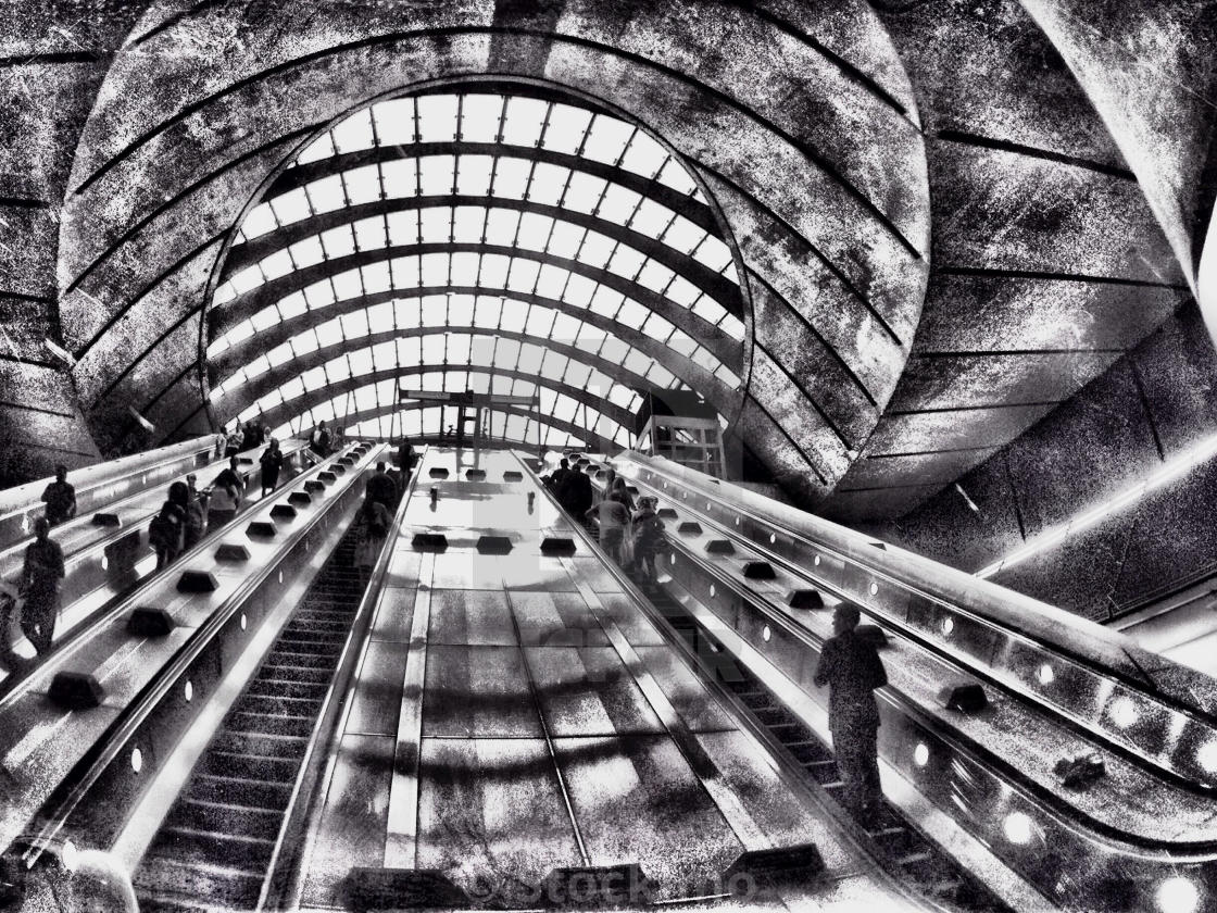 """Canary Wharf escalators, brutalist architecture, black and white photograph"" stock image"