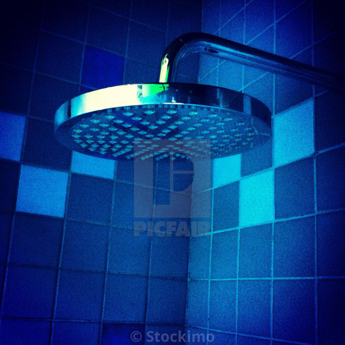 Blue Shower Head Rain Shower In Blue Bathroom License