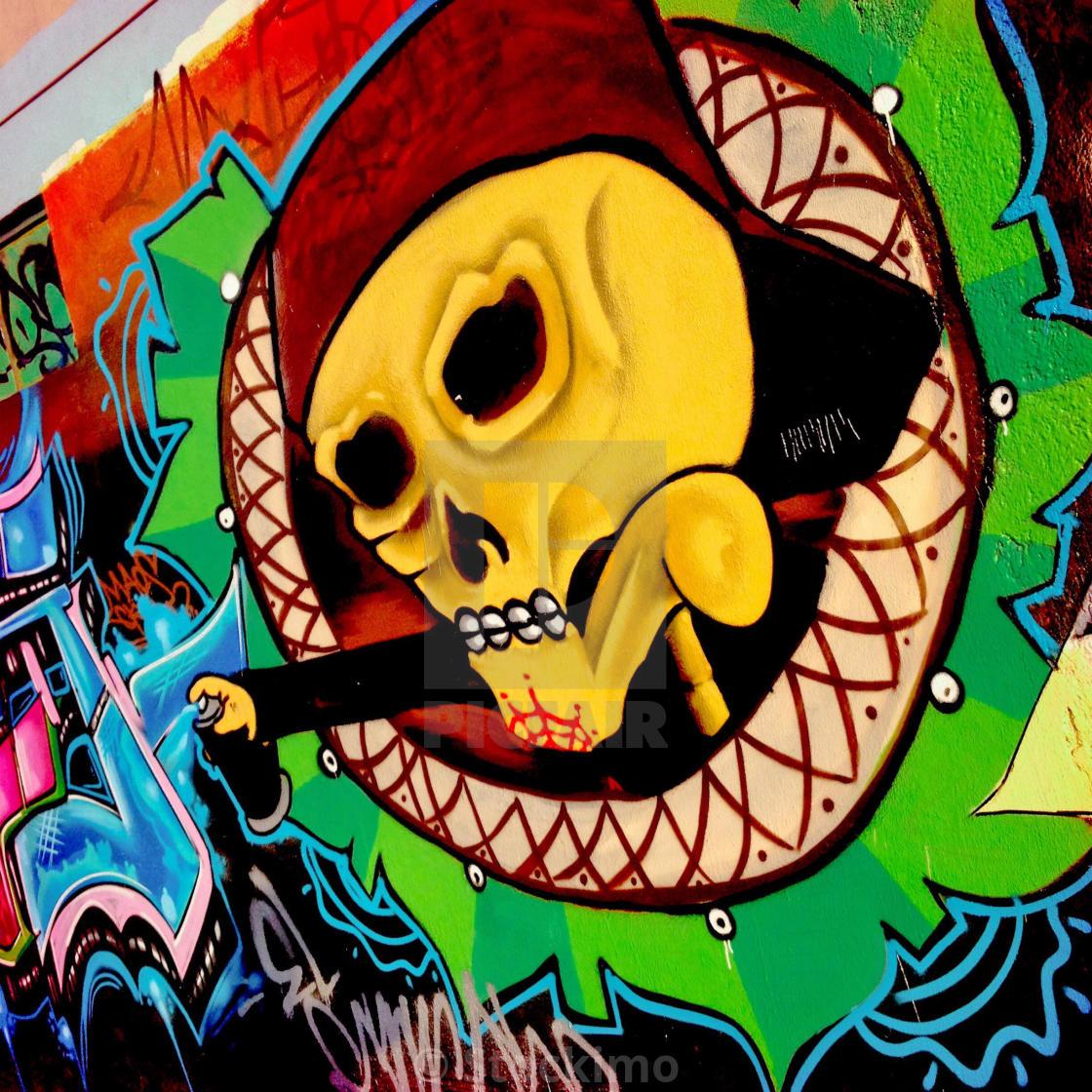 A skull graffiti artwork, illustrating the extensive Death worship ...