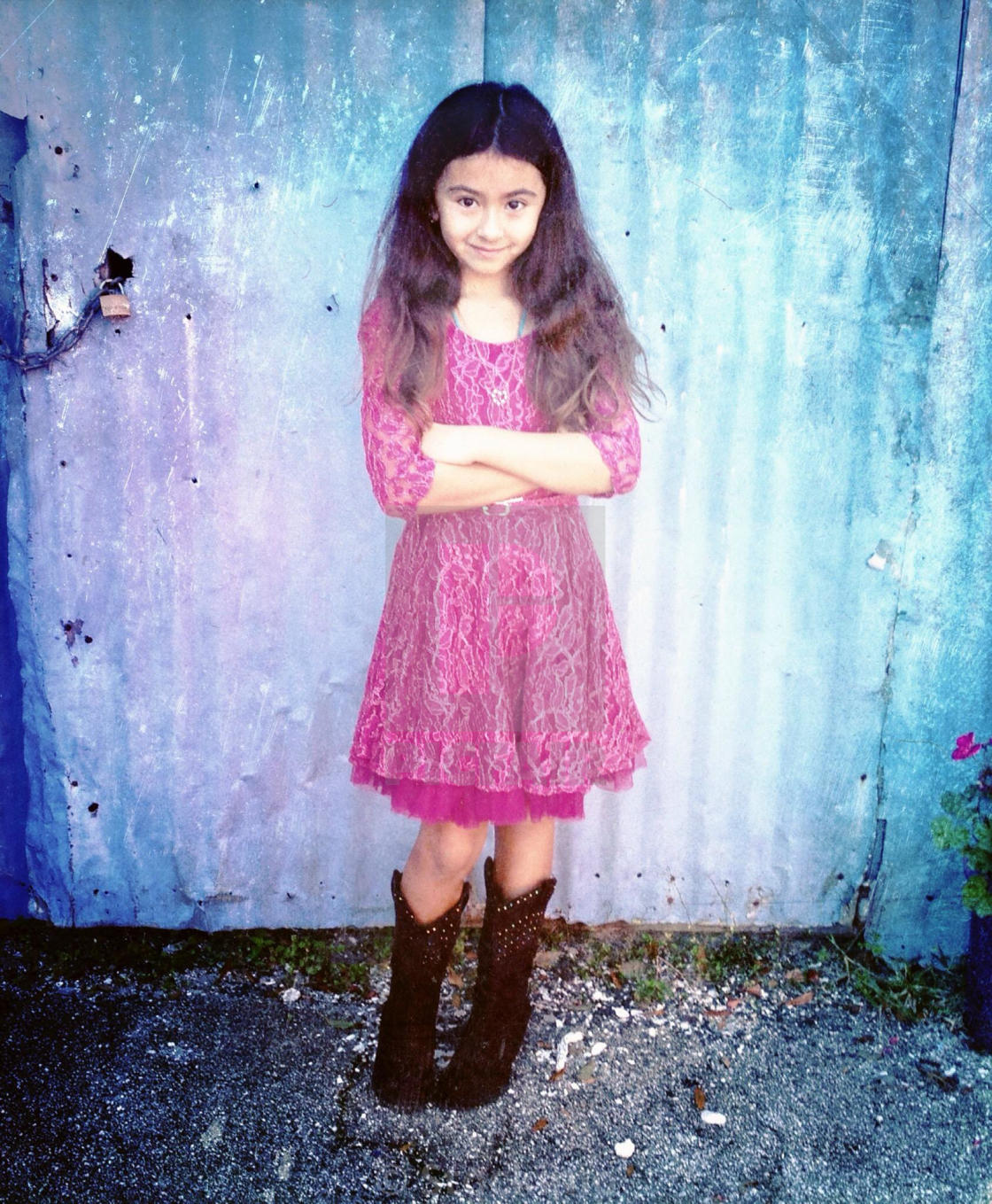 9277f1f88d Little girl in pretty dress and cowboy boots. - License, download or ...