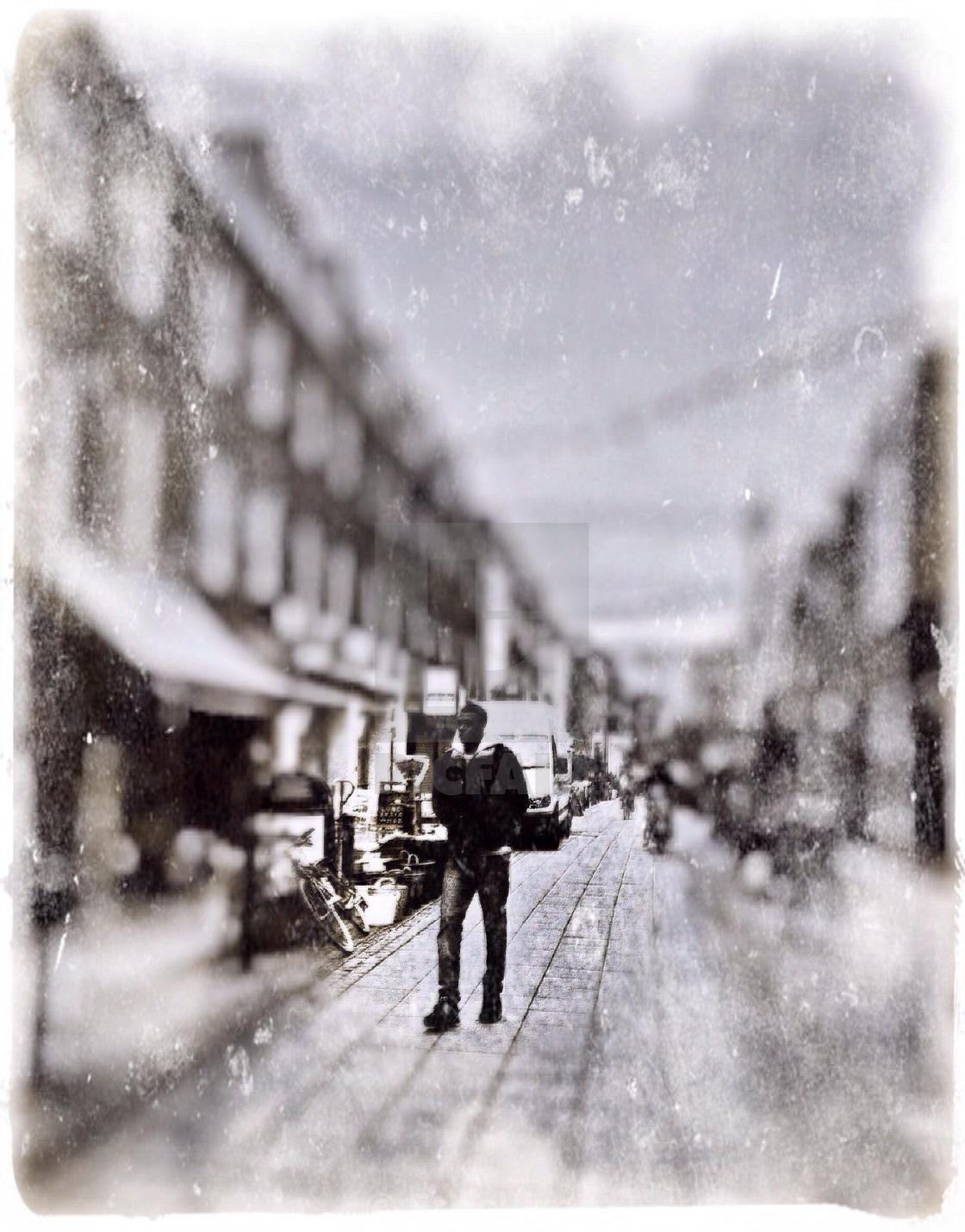 Pedestrian Walking On Car Free Zone Central London Uk License