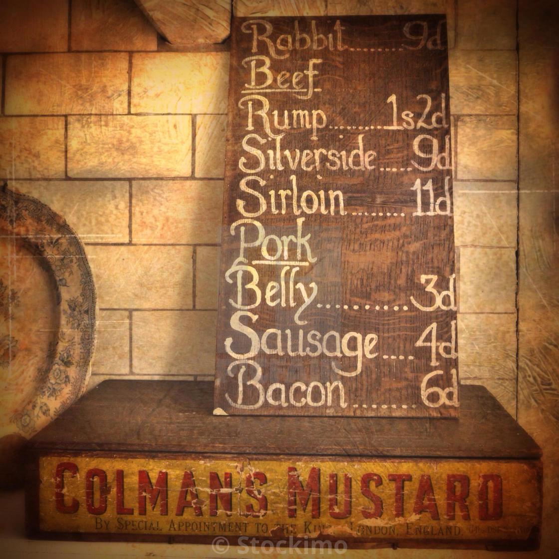 Price list in old money, butcher's shop, Blist's Hill