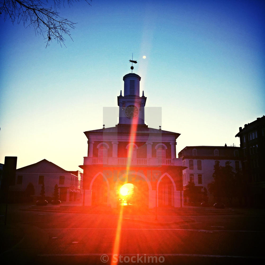"""The sun rises through the Fayetteville, NC Markethouse"" stock image"