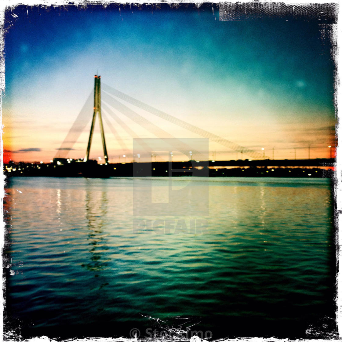 """Riga, Latvia, cable_stayed_bridge on Daugava."" stock image"