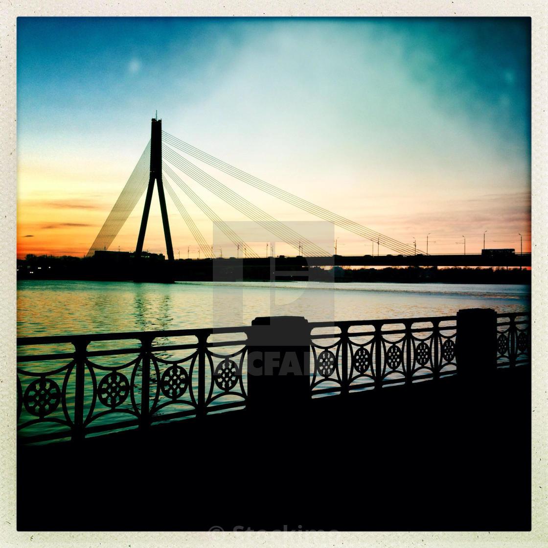 """Riga. Latvia. Latvija. Cable-stayed bridge. Daugava river."" stock image"