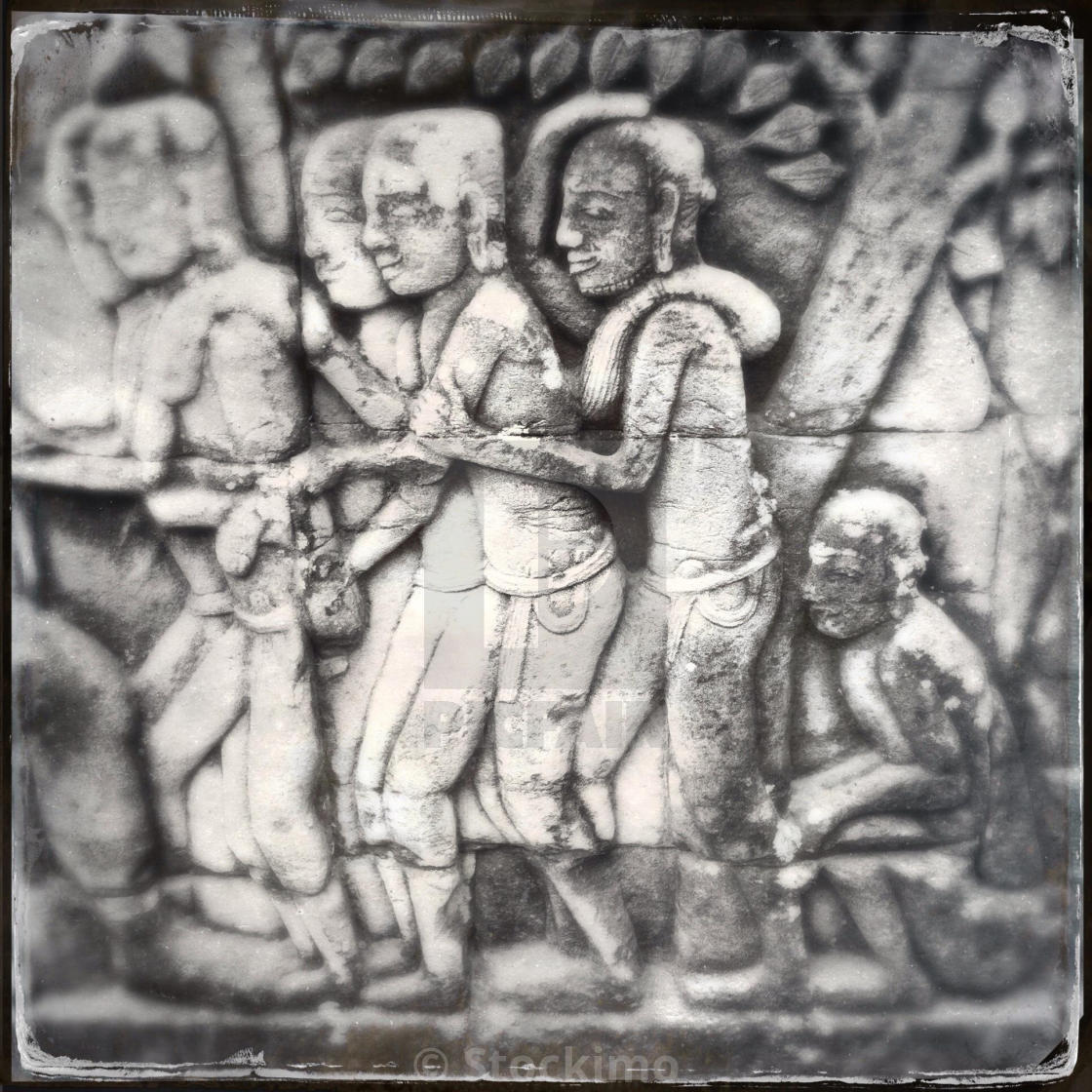 Bas relief stone khmer carvings angkor wat siem reap cambodia