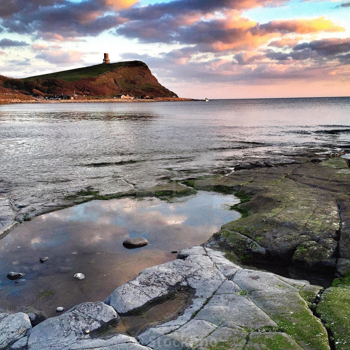 """""""Clavell tower from Kimmeridge Bay in Dorset."""" stock image"""