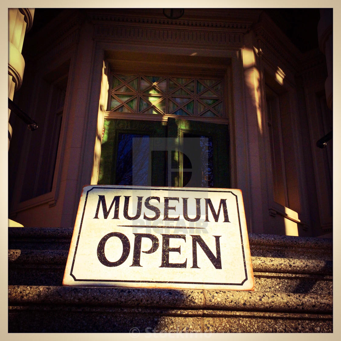 Museum Open sign at McHenry Museum  Modesto, California, USA