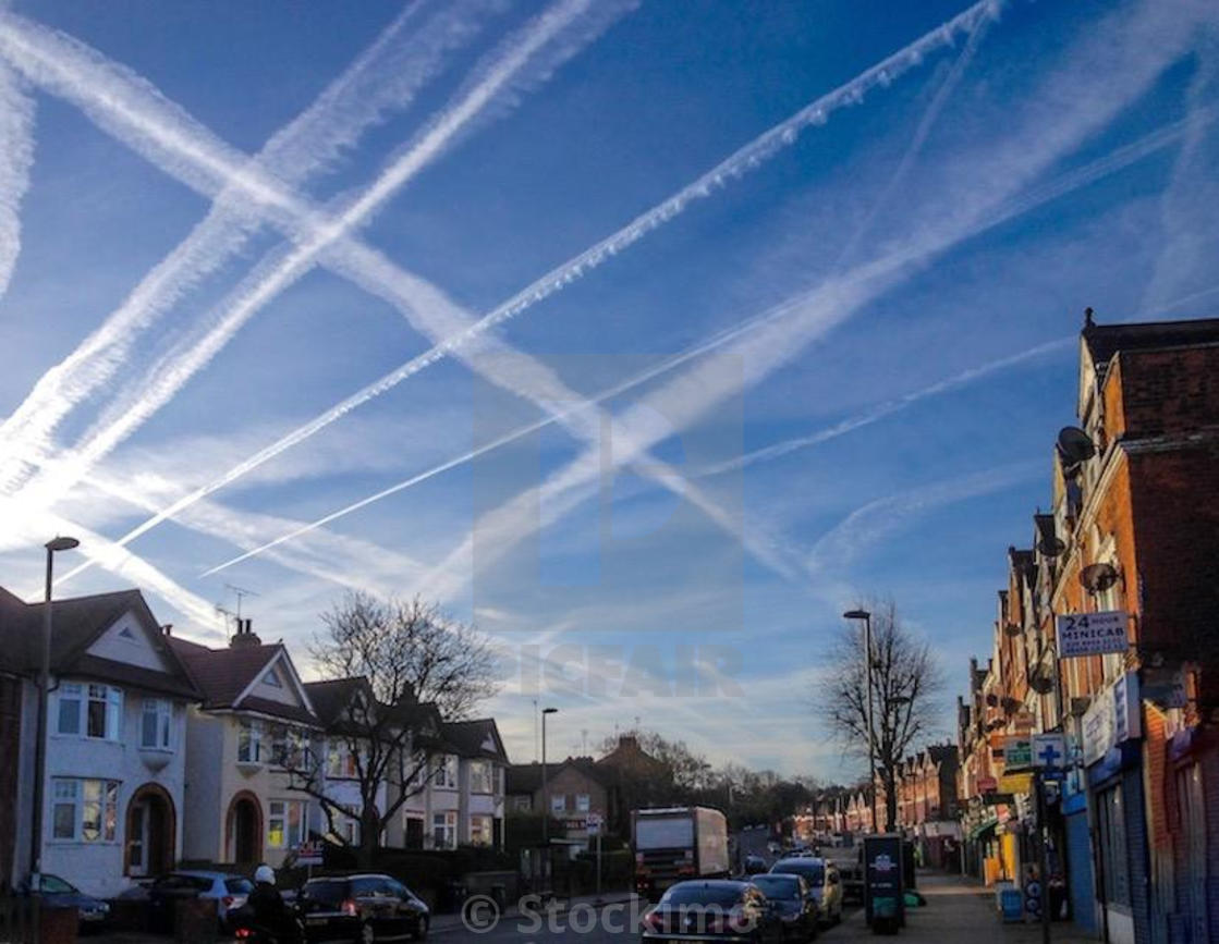 """Contrails over Muswell Hill"" stock image"