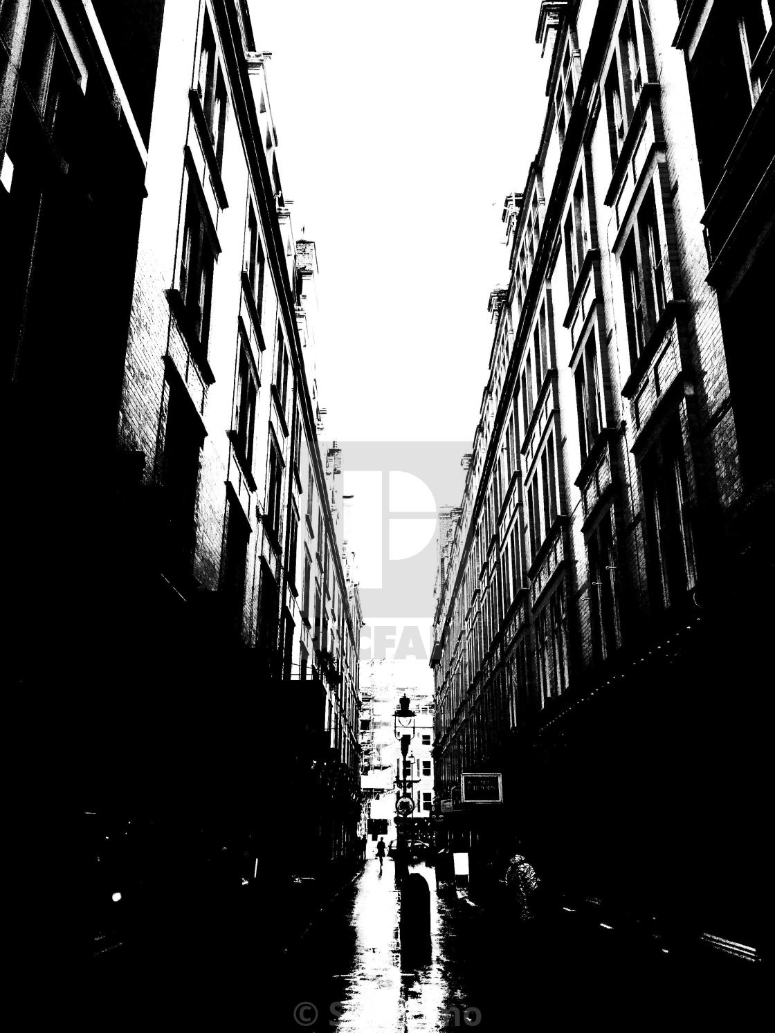 """London. In the middle of the street, between the buildings."" stock image"