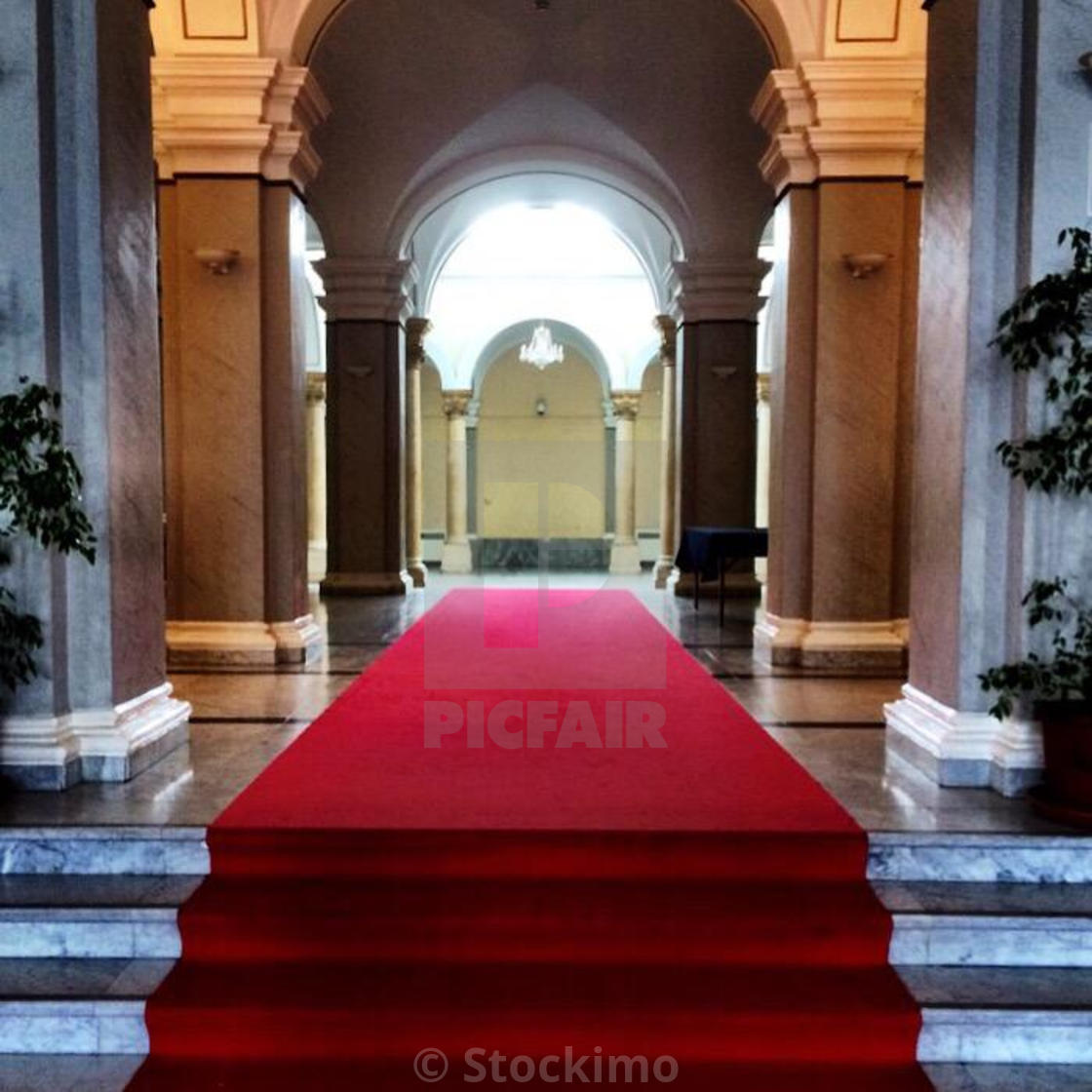 """Red carpet, Zagreb, Croatia, Balkans"" stock image"