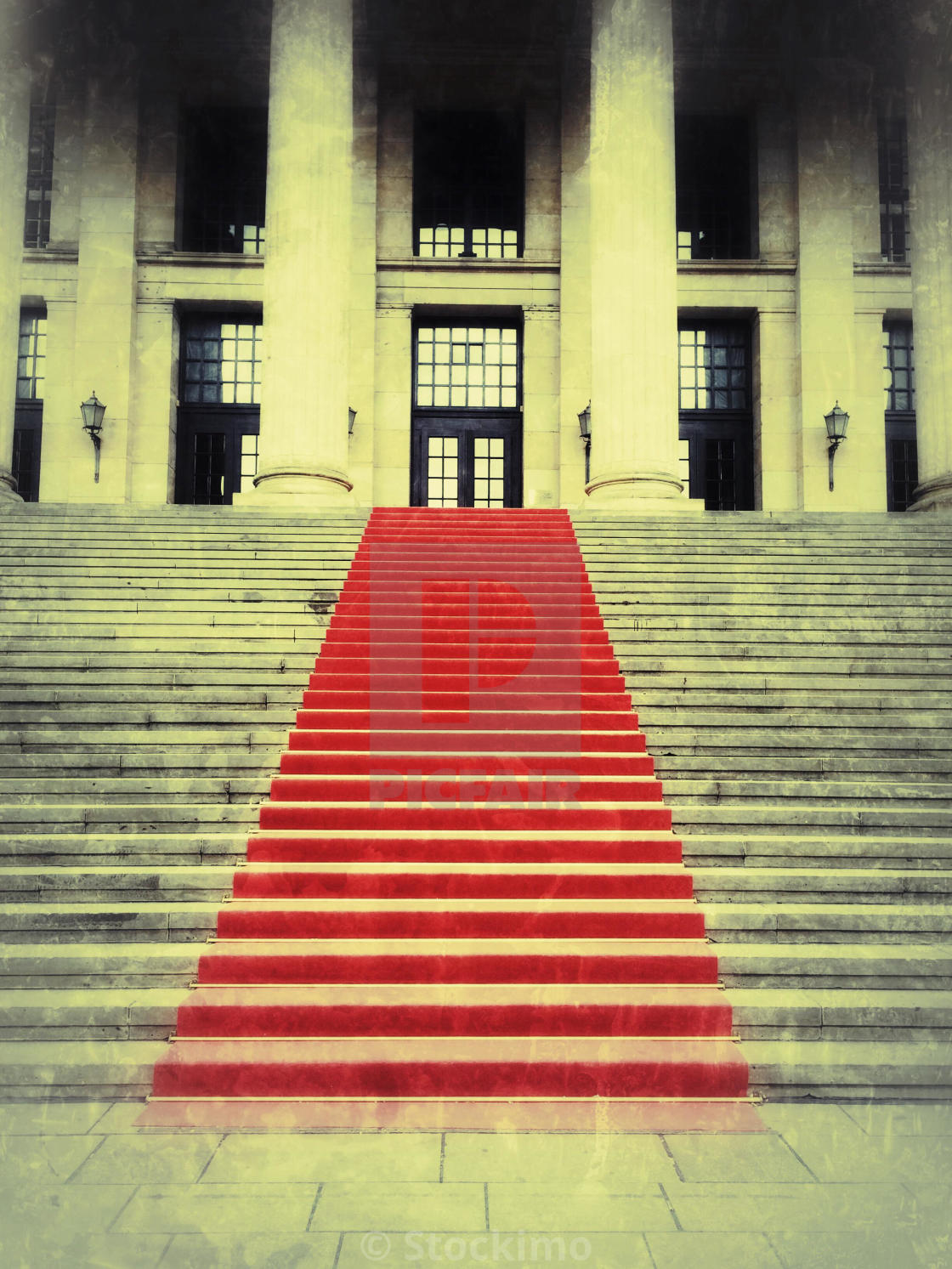 """Red carpet on the castle stairs"" stock image"