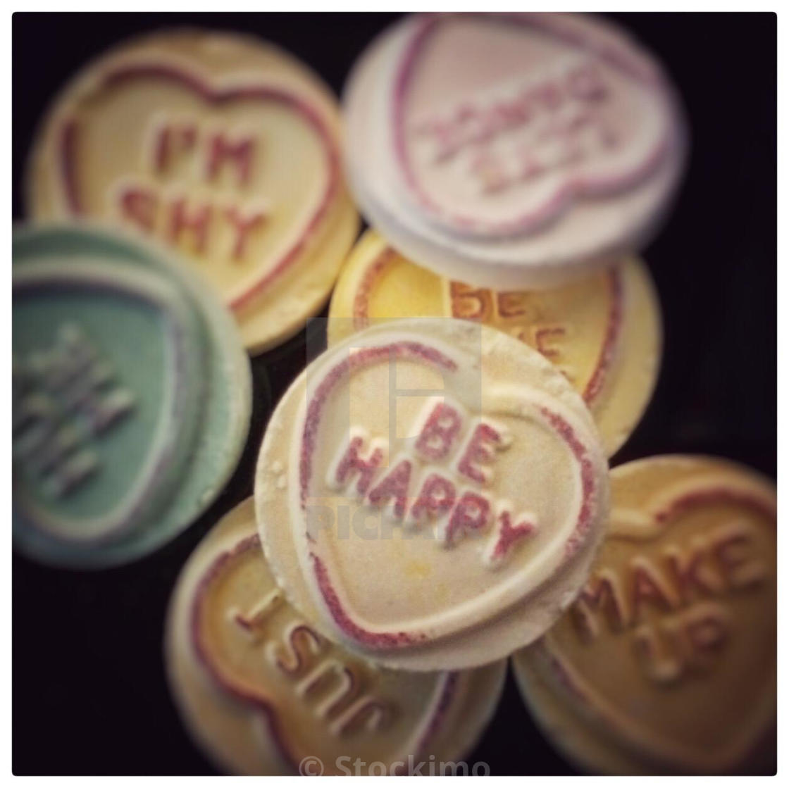 Be Happy - message on a love heart sweet - License, download or