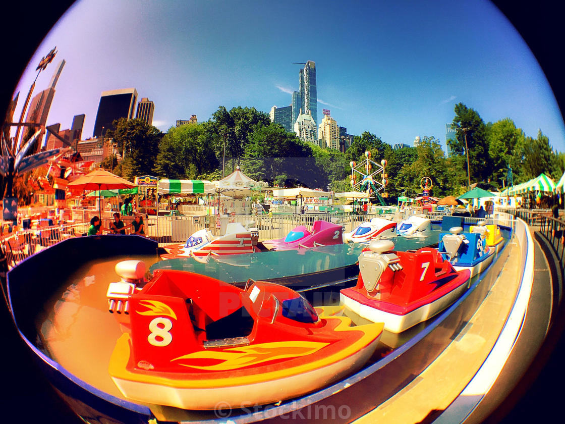 Fisheye Lens View Of Carnival Rides In Victoria Gardens, Central ...