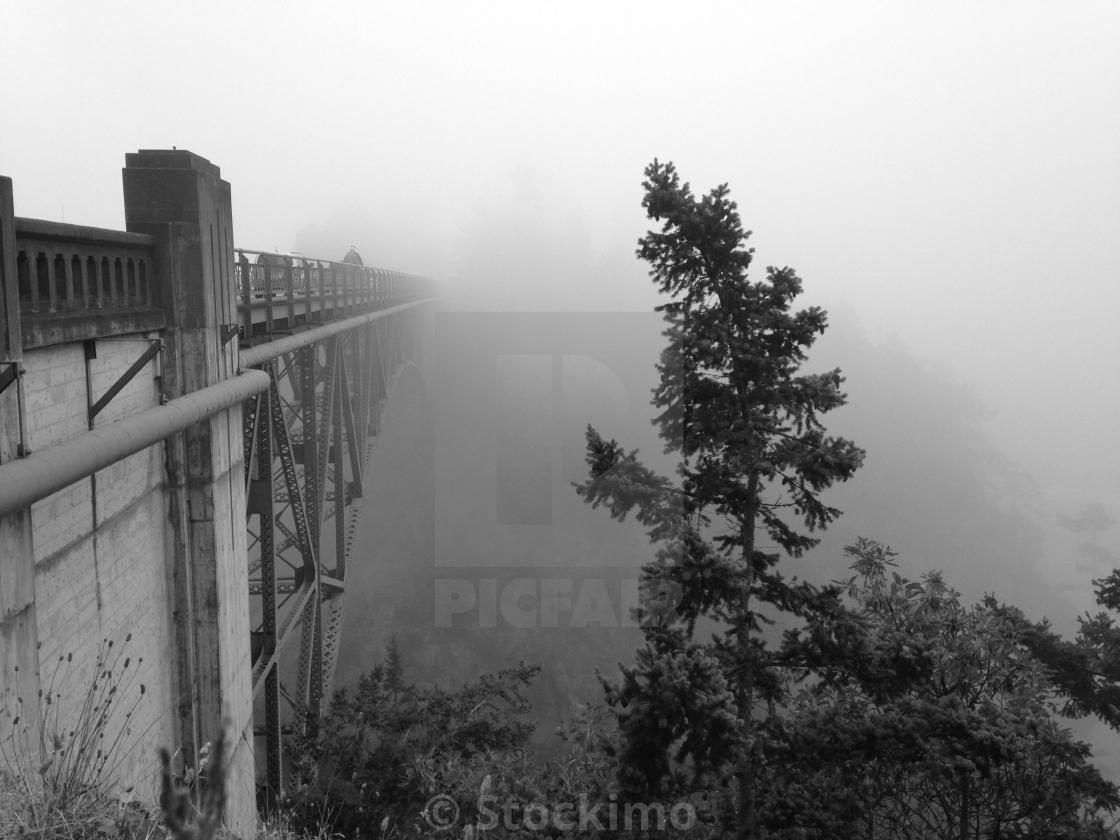 """Foggy day in the Pacific Northwest. *Deception pass bridge"" stock image"