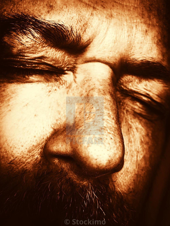"""Sleeping man having a nightmare"" stock image"