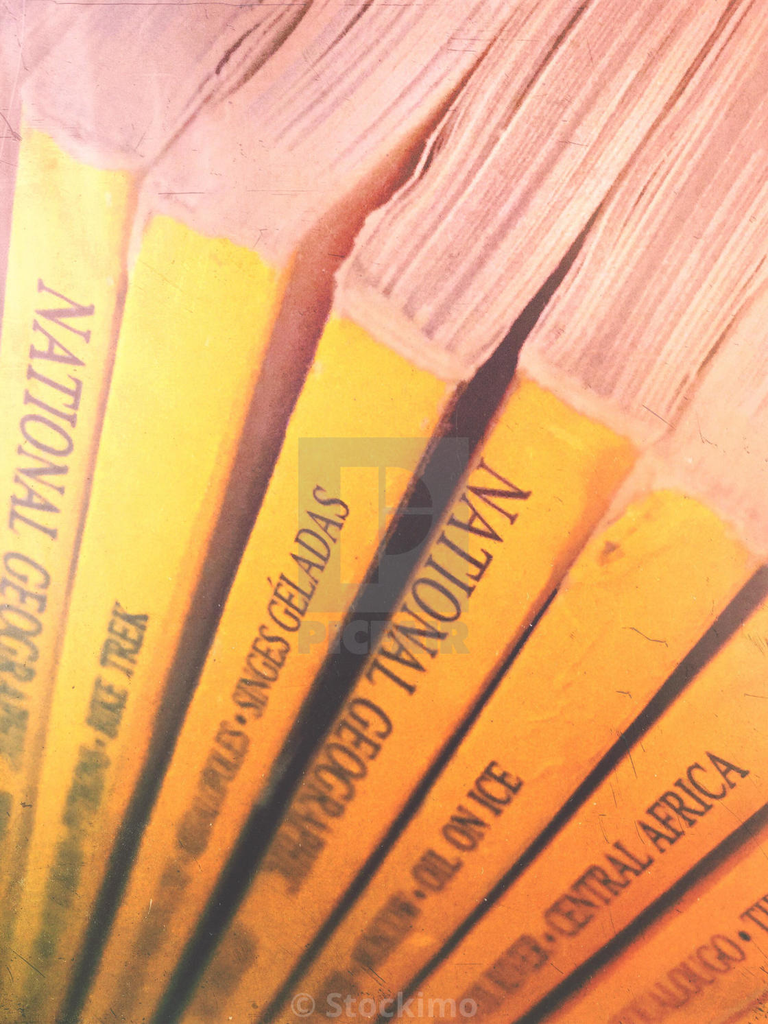 Closeup of National Geographic magazines - License for £31.00 on Picfair