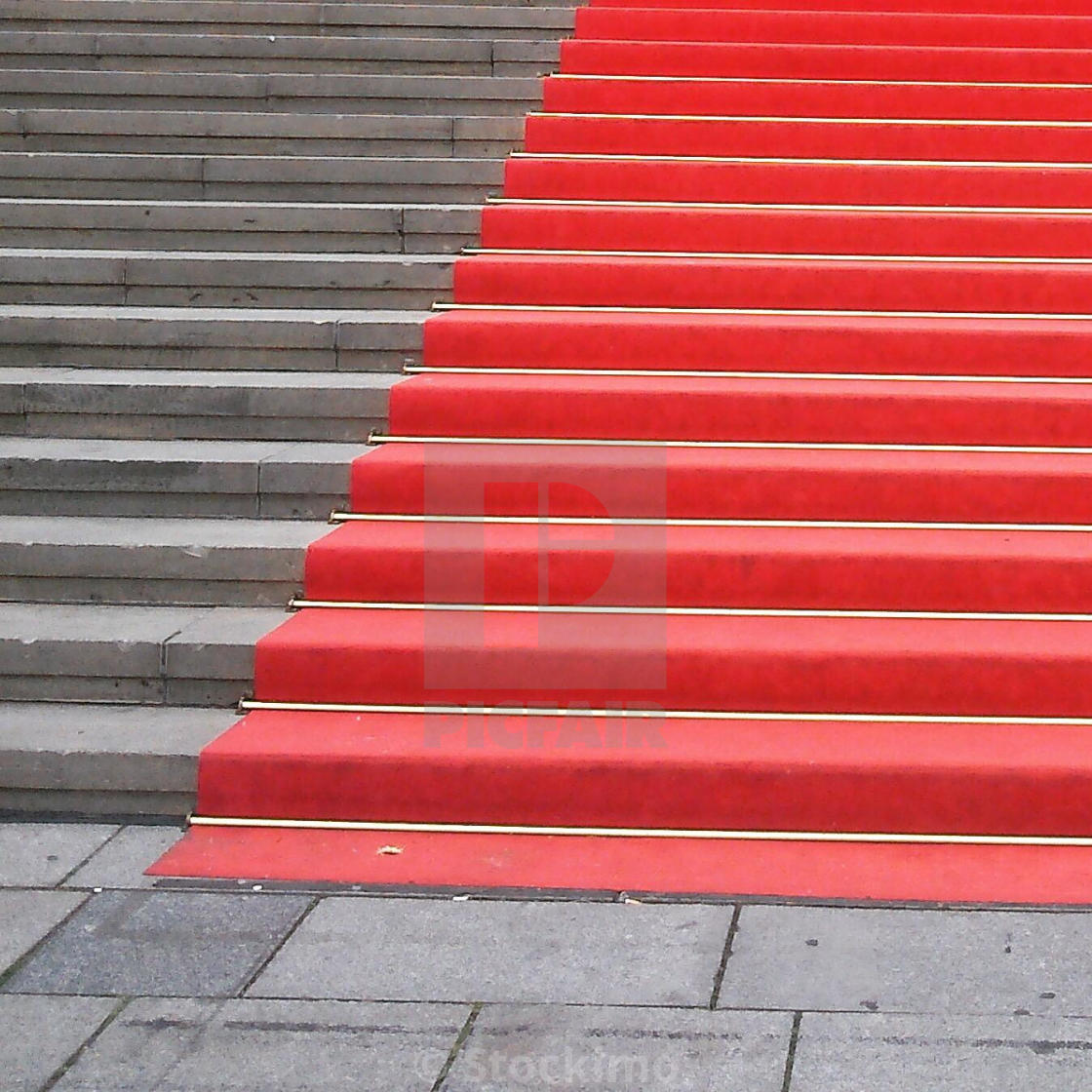 """Red carpet on steps"" stock image"