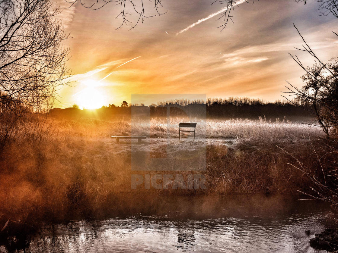 """Cold winter morning on Tottenham Marshes, London, UK"" stock image"