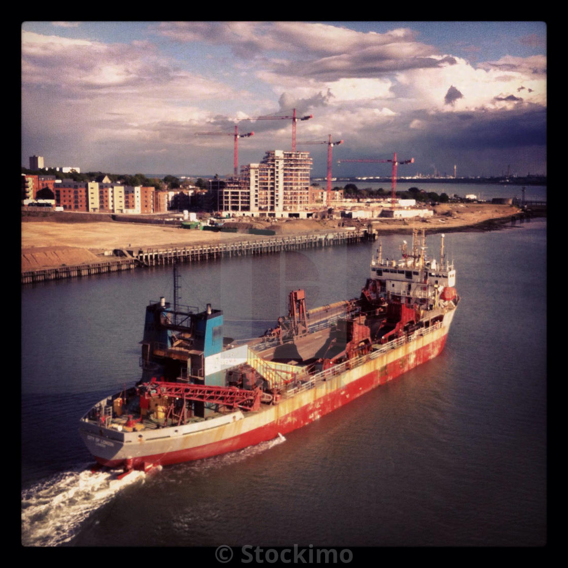 """Dredger on the River Itchen"" stock image"