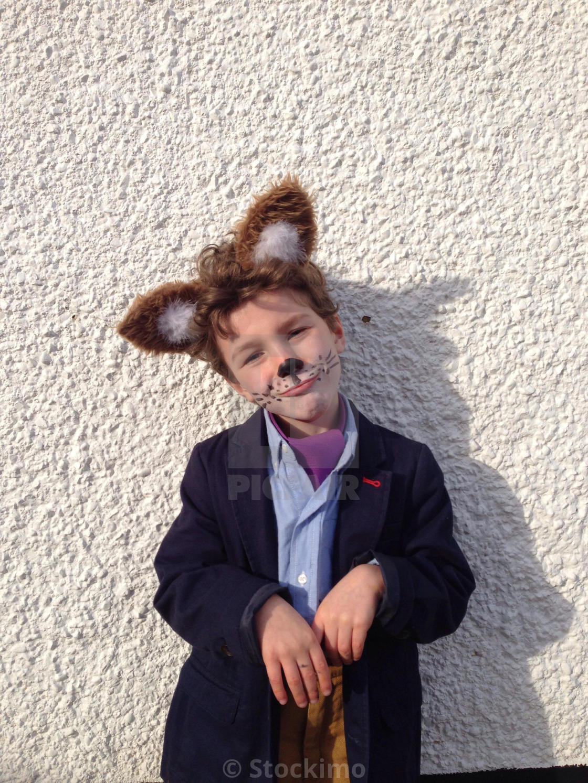 """""""A boy wearing a fox fancy dress costume"""" stock image"""