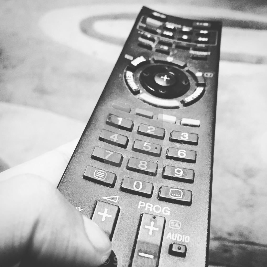 TV remote control in black and white - License, download or print