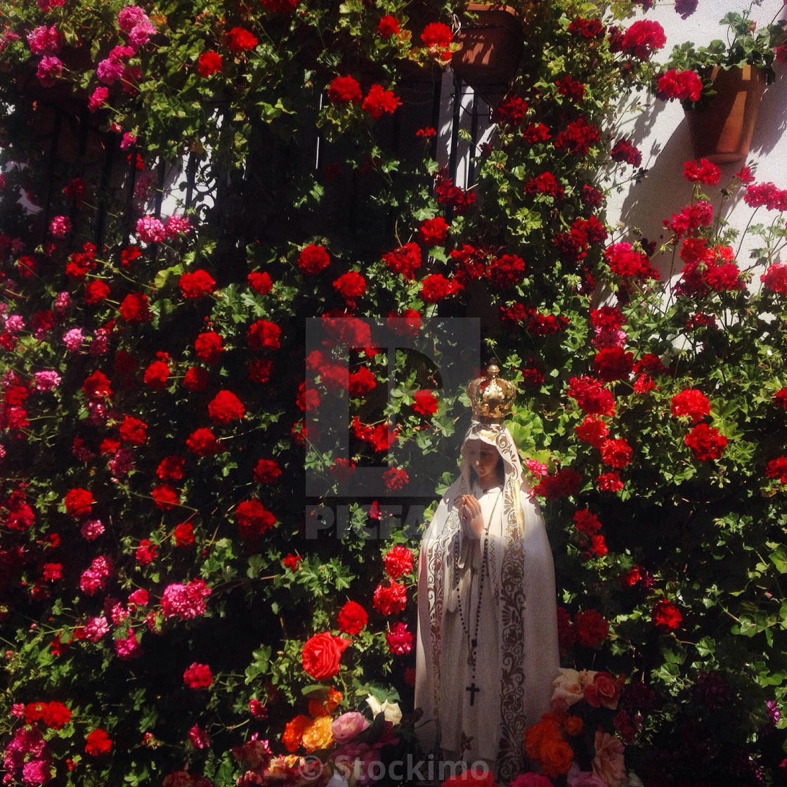 An Image Of Our Lady Of Fatima Surrounded By Flowers In El Gastor