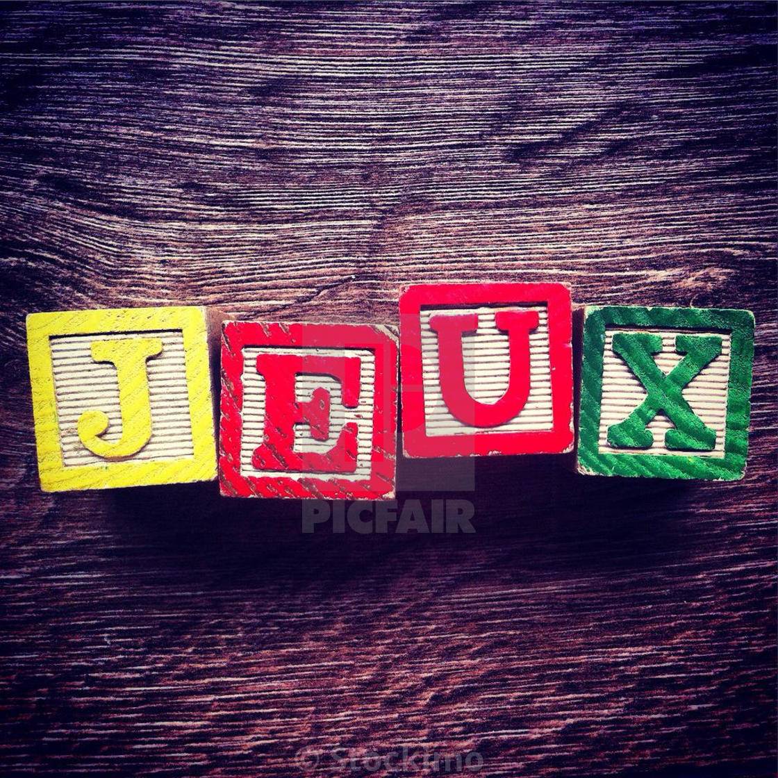 French Word Jeux Meaning Games Done With Alphabet Wood Blocks