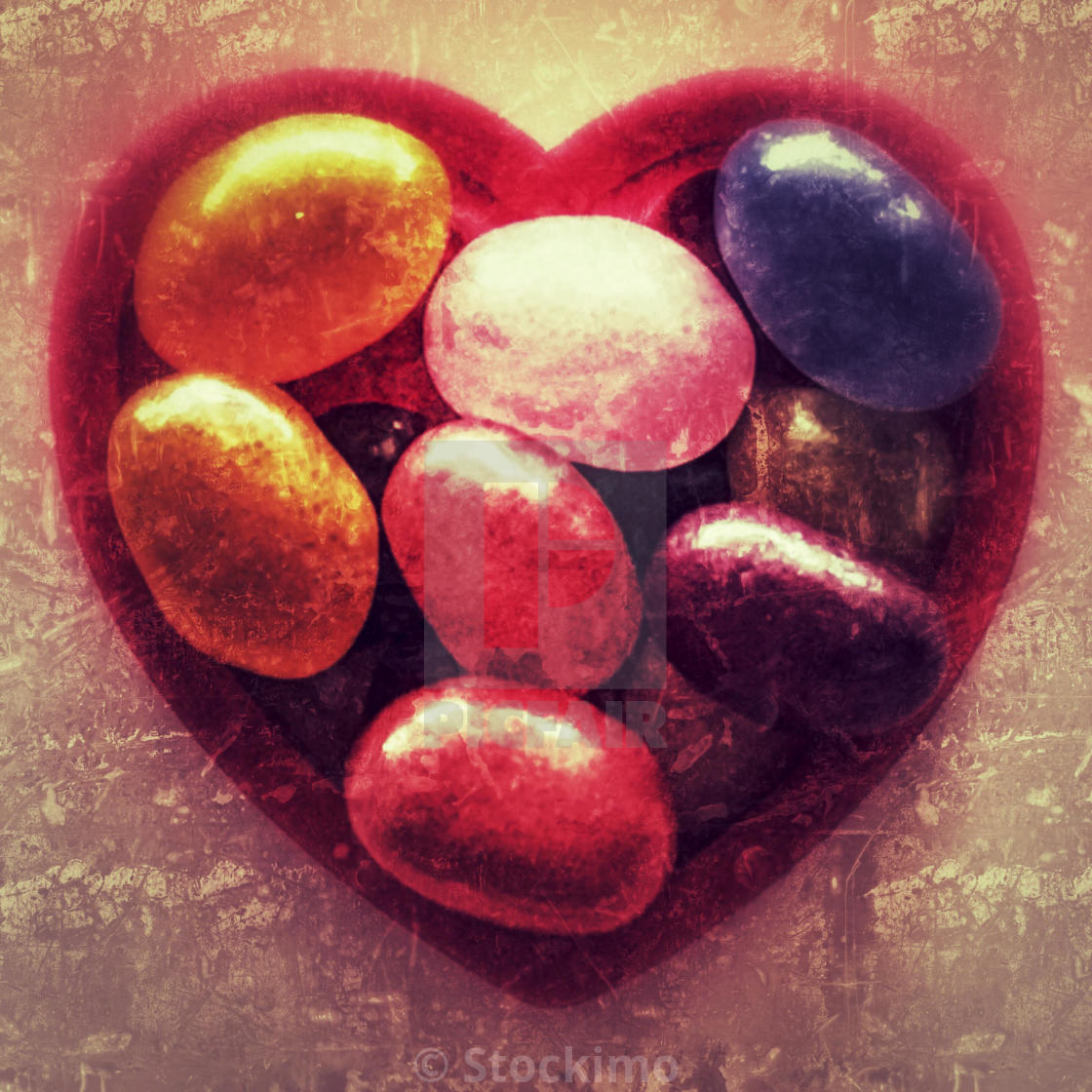 """""""Jelly beans in a heart shape."""" stock image"""