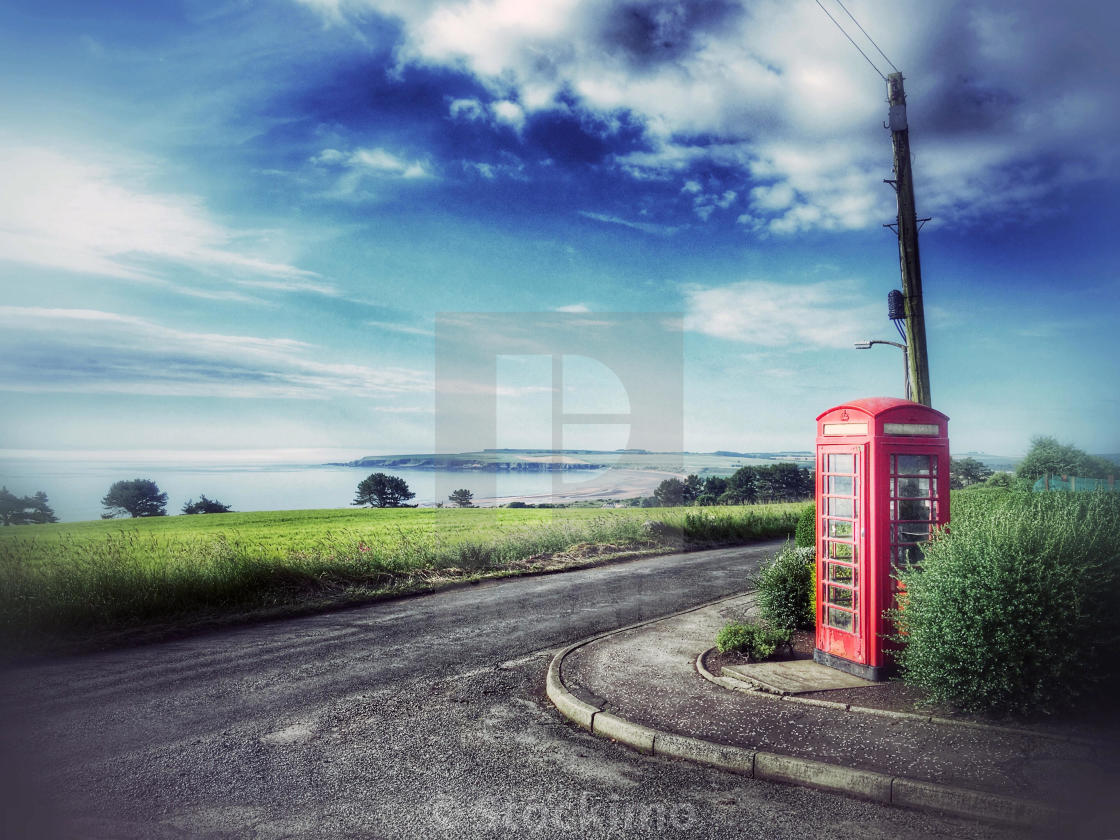 Red telephone call box at Braehead of Lunan, overlooking Lunan Bay