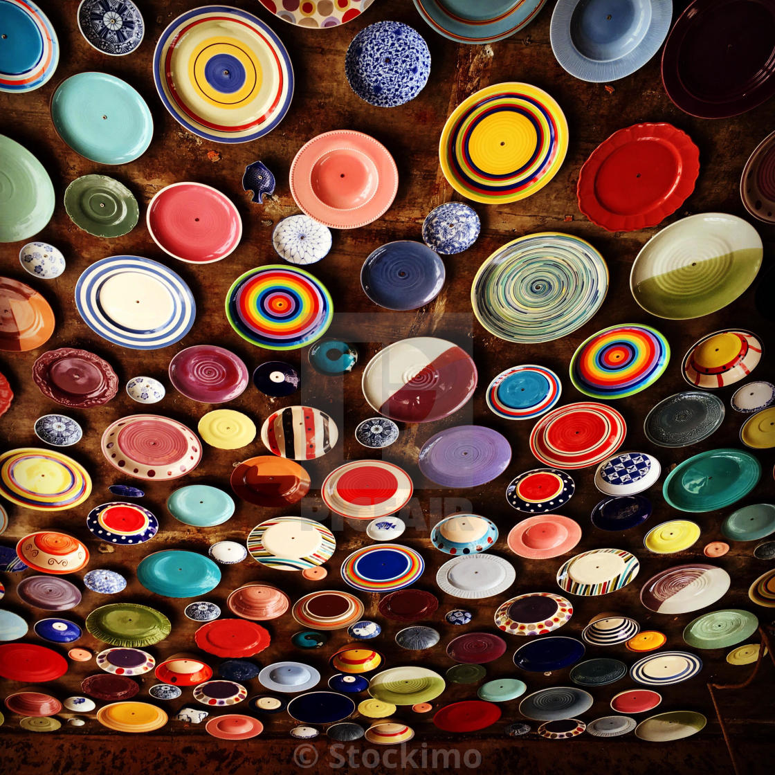 """Ceiling decorated with variety designs of beautiful dishes"" stock image"